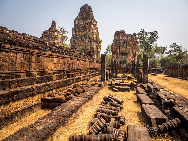 Fallen Pillars of Pre Rup, Angkor, Cambodia