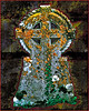 A Celtic Cross Tombstone with Moss and Lichen