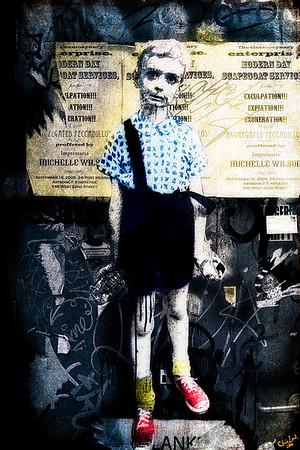 Boy with Hand Grenade, My Version of a Street Artist's Version of a Diane Arbus Original
