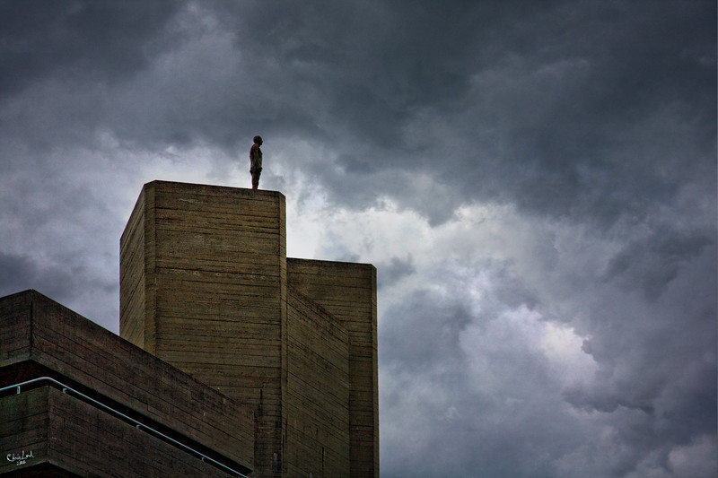 Anthony Gormley Statue Looking Out over London