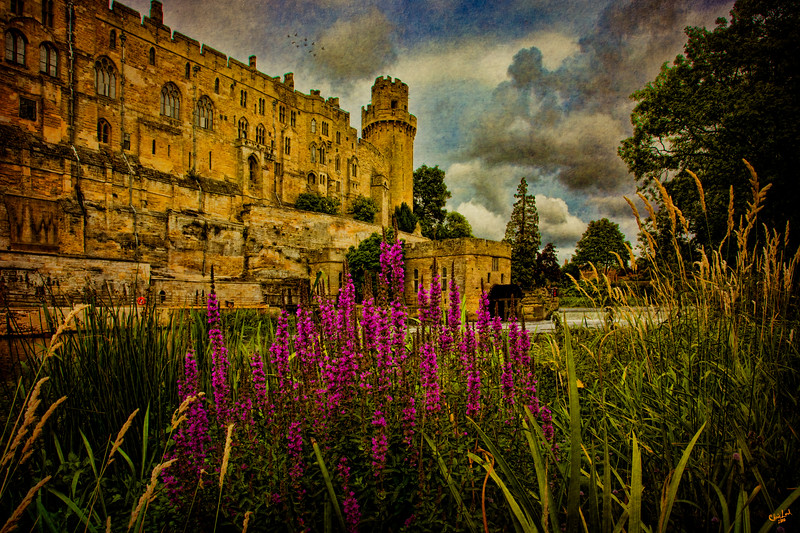 The Avon River Flows past Wildflowers and the Walls of Warwick Castle