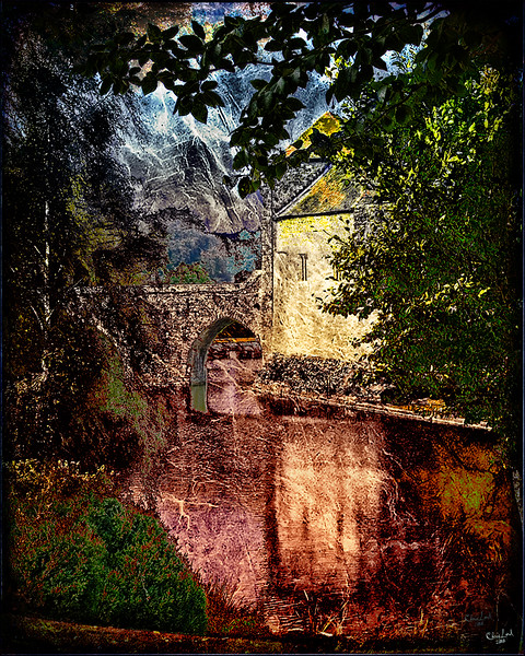 A Scene at Leeds Castle with Overlaid Textures