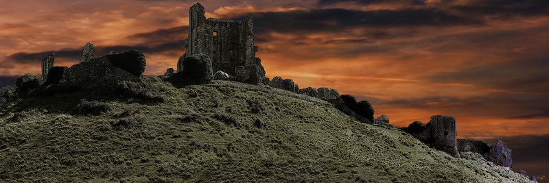 Corfe Castle Sunset Panorama