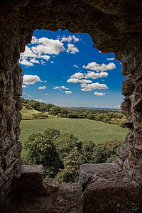 A View Over The Dorset Countryside From A Turret At Corfe Castle