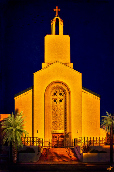 St. Spyridon, A Greek Church In The Setting Sun, San Diego