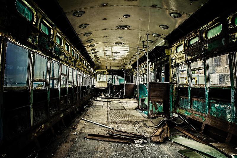 An Abandoned Vintage Tram Car