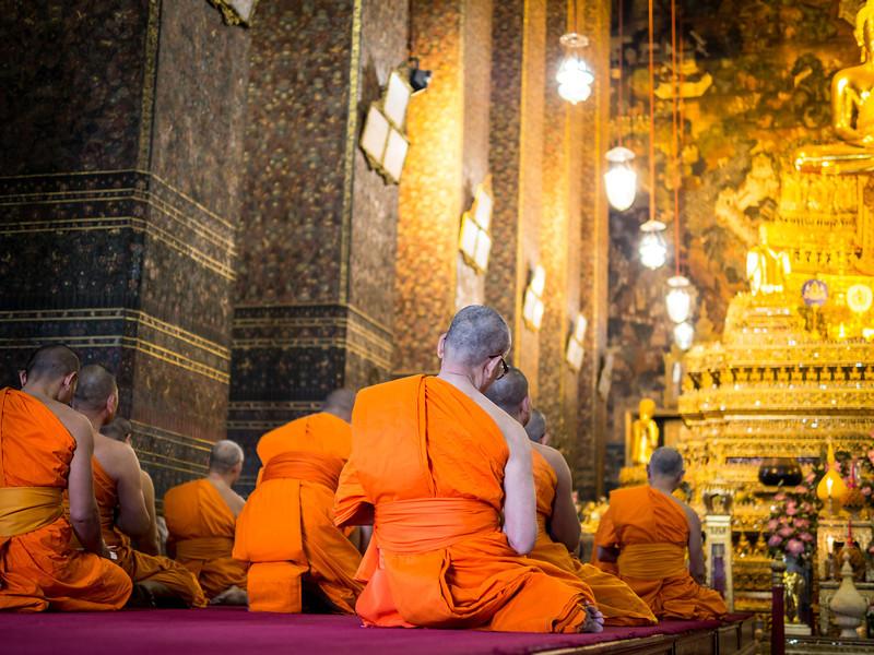 Monks at Prayer, Wat Pho, Bangkok