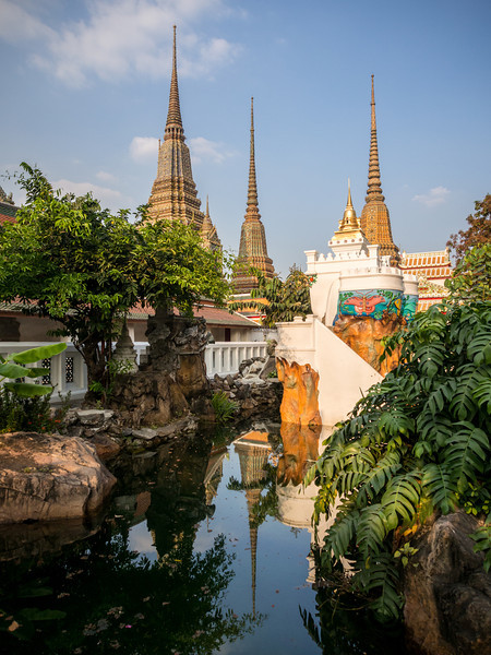 Reflected Chedis, Wat Pho, Bangkok