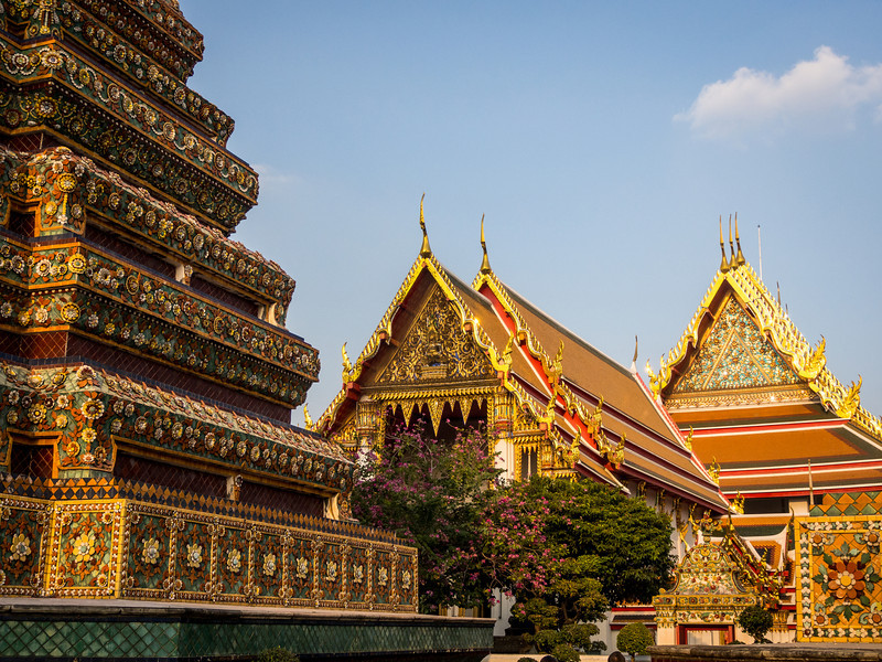 Roofs and Chedi Steps, Wat Pho, Bangkok