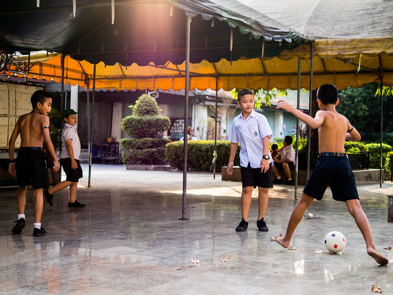 Boys at Play, Wat Ratchabophit, Bangkok, Thailand