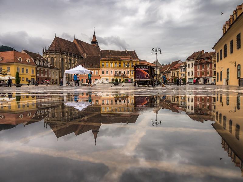 Piaţa Sfatului and the Black Church Reflected,  Brașov, Romania