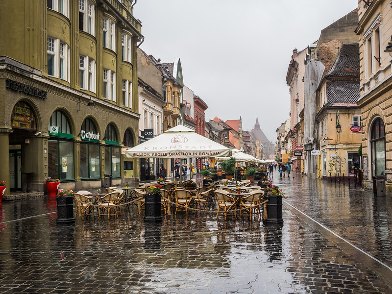Rainy Day on the Walking Street, Brașov, Romania