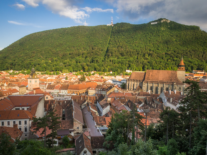 Evening Panorama above the Old Town, Brașov, Romania
