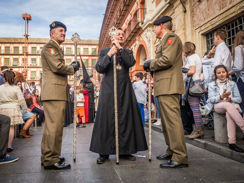 Officers and Priest in the Semana Santa Procession, Córdoba, Spain