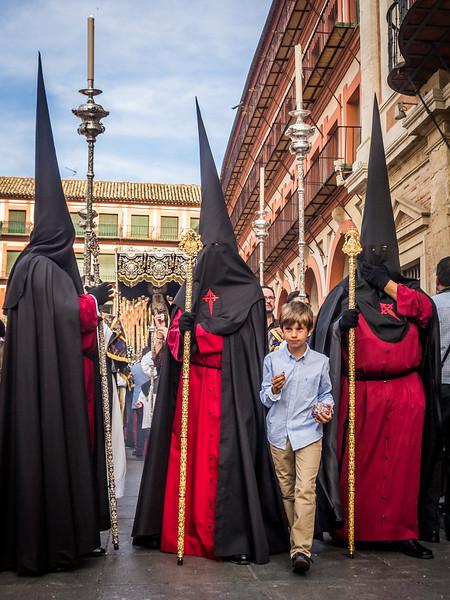 Boy Passing Through the Nazarenos, Plaza de la Corredera, Córdoba