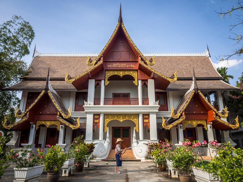 Gardener at Wat Chiang Man, Chiang Mai