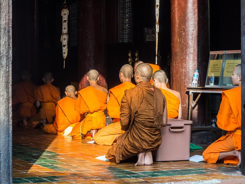 Monks at Prayer, Wat Phan Tao, Chiang Mai, Thailand