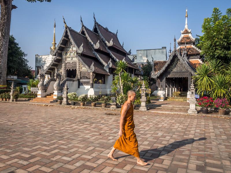 Passing Monk, Chedi Luang, Chiang Mai, Thailand