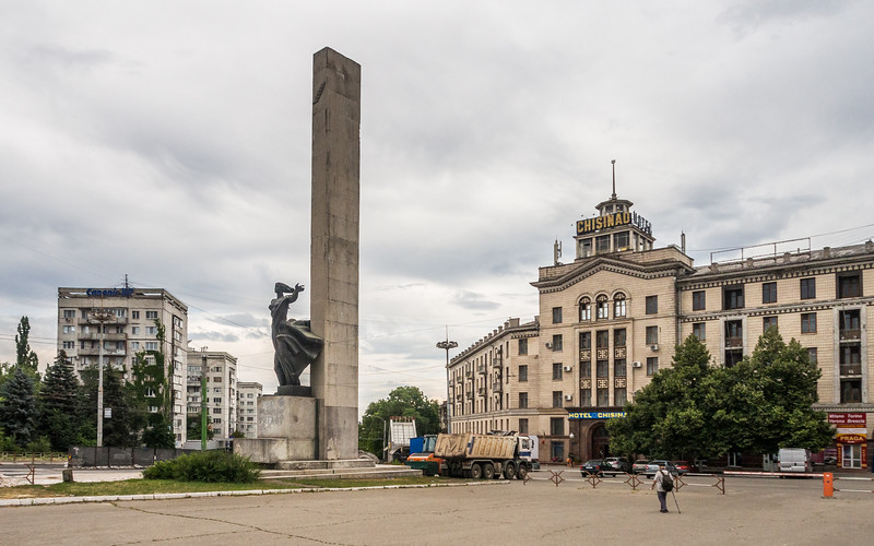Soviet Monument and the Hotel Chisinau, Moldova