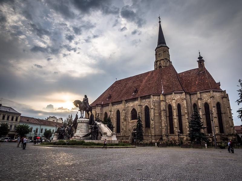 Szent Mihály Templom and Mátyás Király at Sunset, Cluj-Napoca, Romania