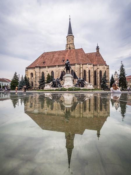 Szent Mihály Templom reflected, Cluj-Napoca