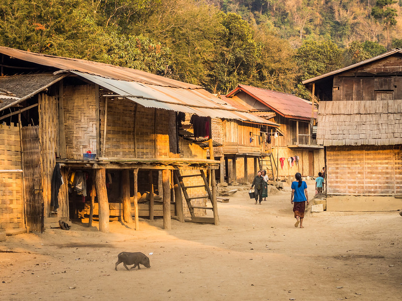 Evening Street Scene, Ban Long Yuak, Laos