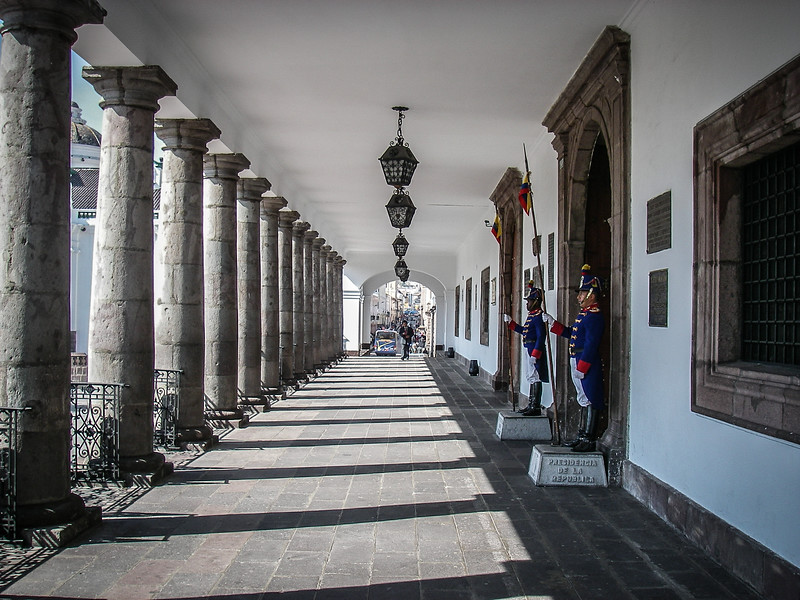 Main Porch of Government Buildling with Guards, Quito, Ecuador