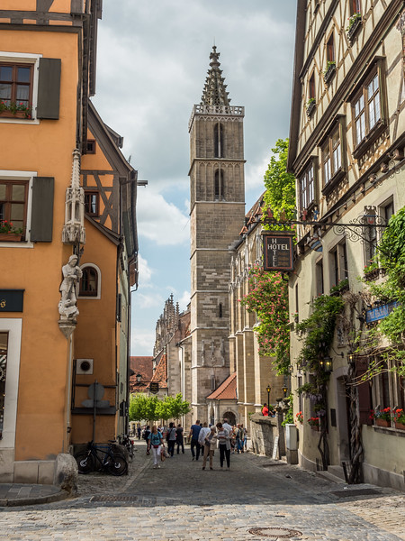 Church Tower and Alleyway, Rothenburg, Germany