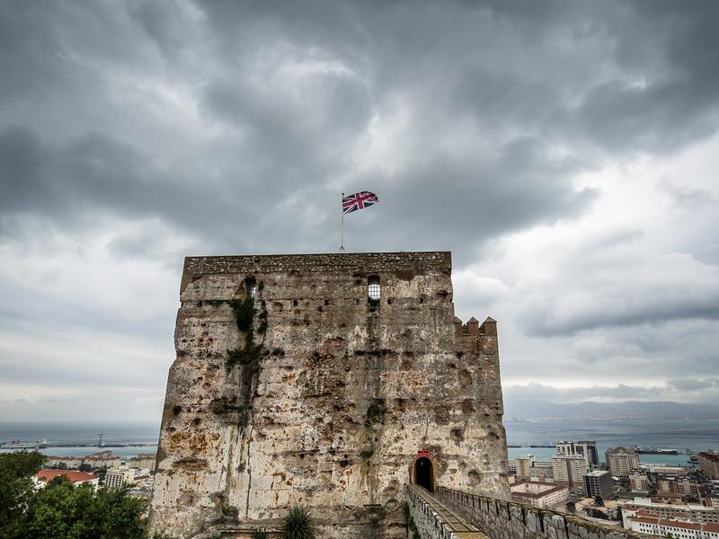 Moorish Castle and Union Jack, Gibraltar