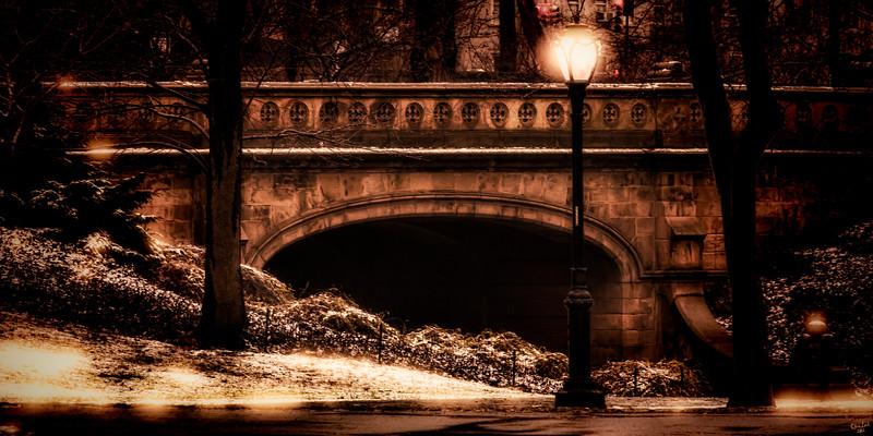 Central Park Bridge with Lamp
