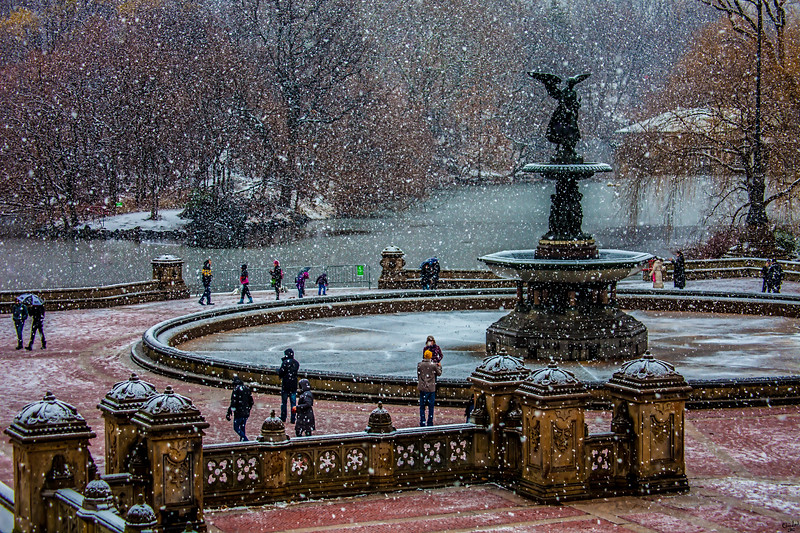 Snowing At Bethesda Terrace, Central Park
