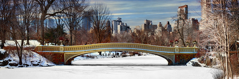 Bow Bridge In Winter Panorama