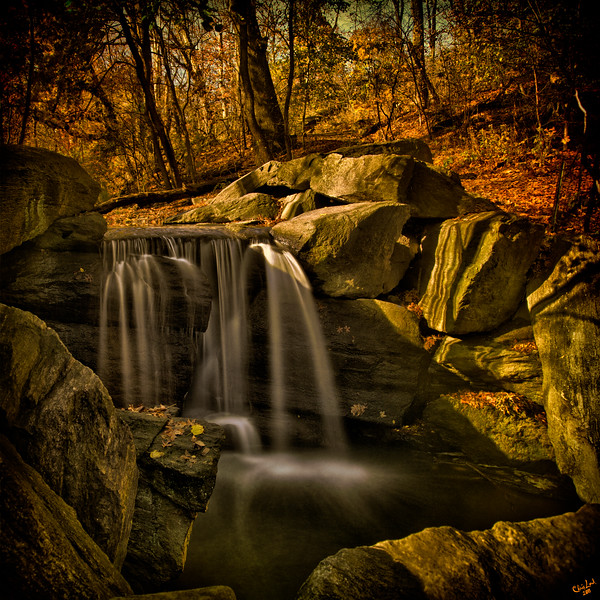 The Waterfall In The Ravine, North Woods, Central Park in Autumn