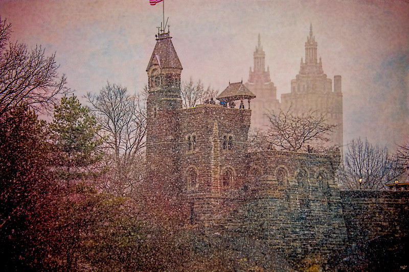 Belvedere Castle In Snow, Central Park