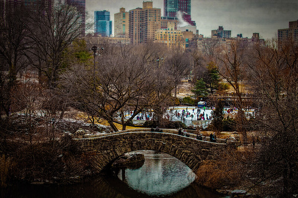 The Gapstow Bridge and Ice Rink In January