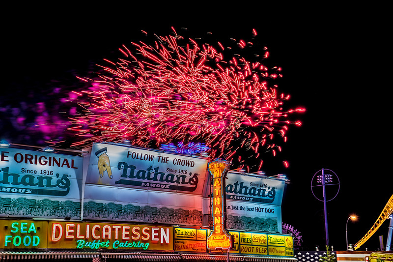 Nathans Famous with Fireworks