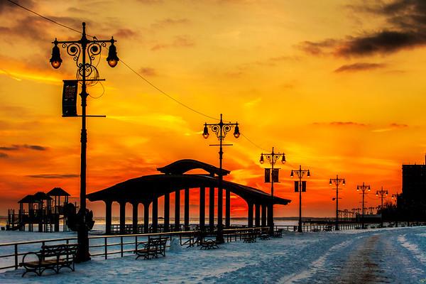 Boardwalk Snow Sunset