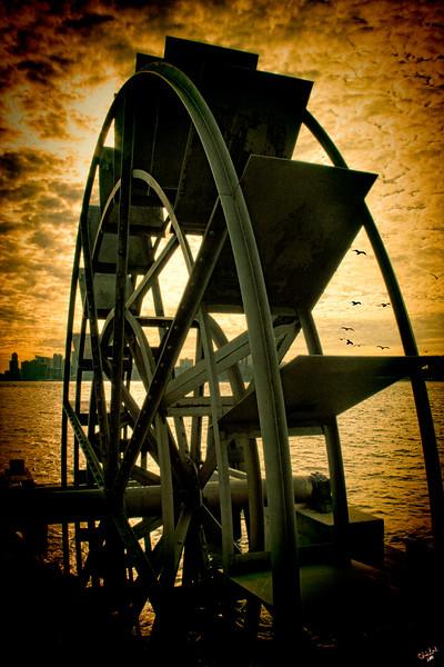 Hudson River Waterwheel Sunset