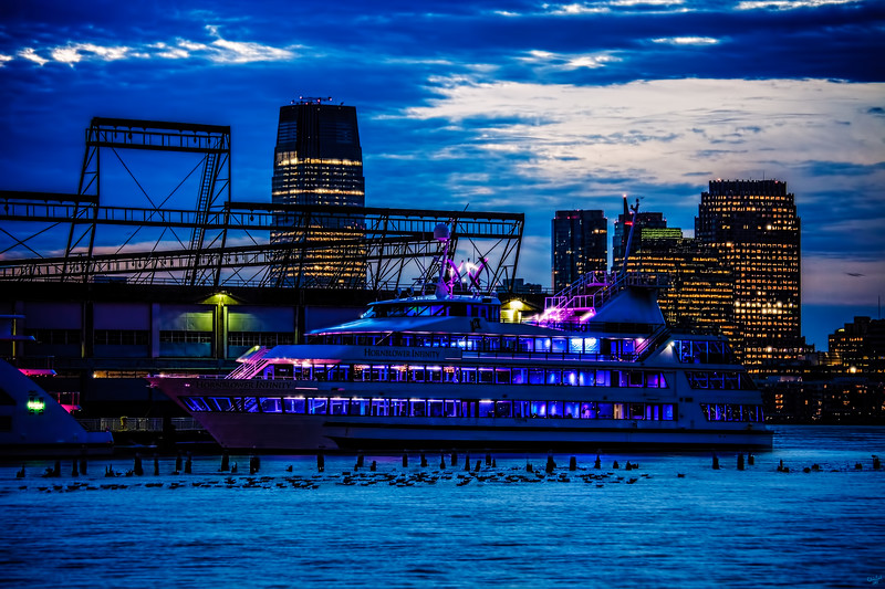 The Hornblower Infinity at Twilight on The Hudson River