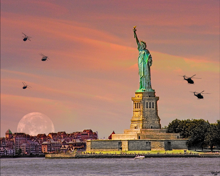 Miss Liberty escorted by Helicopters and a Full Moon!