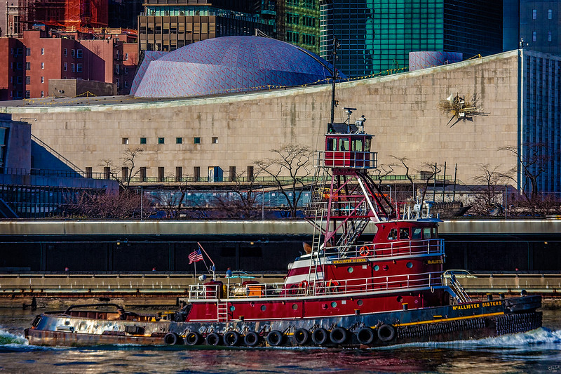 Tugboat McAllister Sisters Passing the United Nations on the East River