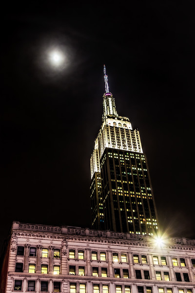 Empire State Building From Herald Square At Night