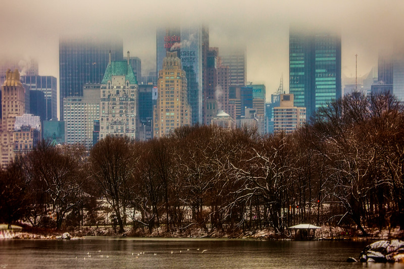 Central Park South in Bad Weather