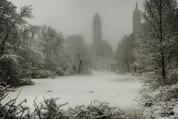 The Duck Pond, Central Park During Snowstorm