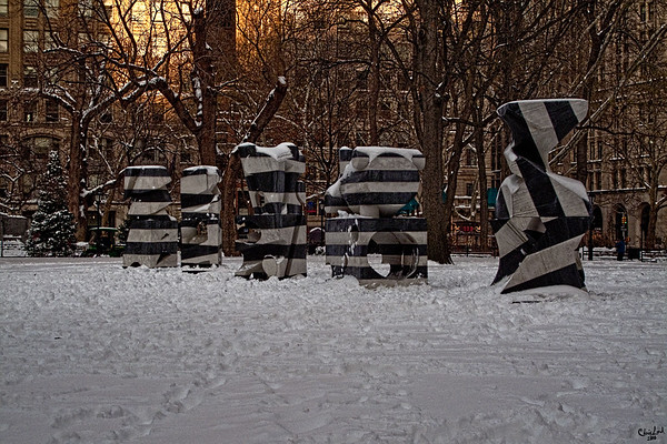 Art Sculpture in The Snow at Madison Square Park, NYC