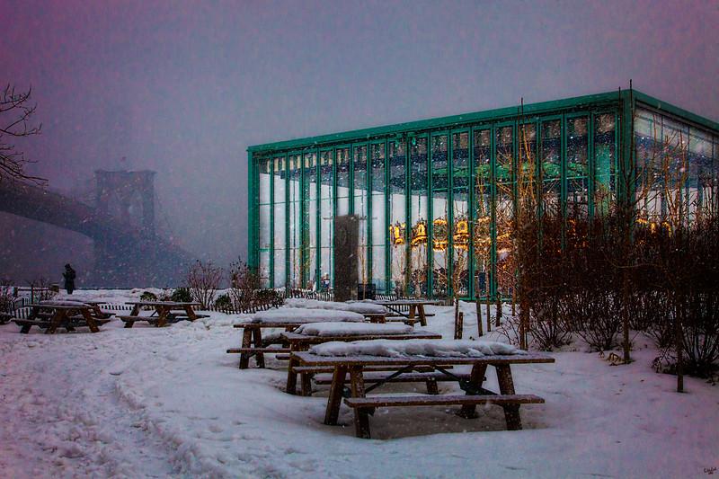 Brooklyn Bridge Park, Carousel In Snow