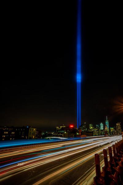 Tribute Lights From The Brooklyn Bridge