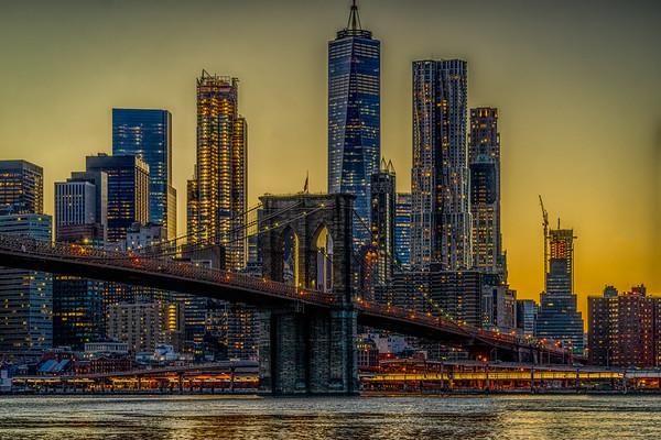 Golden Hour At The Brooklyn Bridge