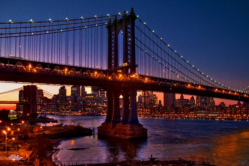 Manhattan and Brooklyn Bridges at Sunset