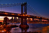 Manhattan and Brooklyn Bridges at Sunset